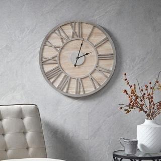 Madison Park Mason Natural Wall Clock