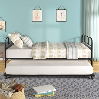 Harper & Bright Designs Twin Size Metal Daybed with Trundle Platform Bed Frame Trundle Bed with Built-in Casters