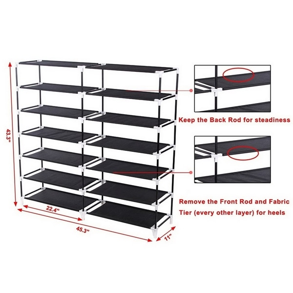 7 Tiers Shoe Rack Organizer, Portable Shoe Rack Closet Fabric Cover