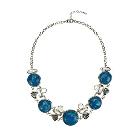 Silvertone with Natural Blue Jasper and Pearl Strand Necklace