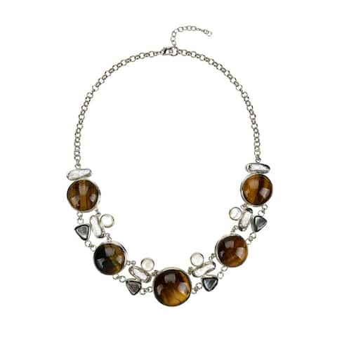 Silvertone with Natural Tiger Eye and Pearl Strand Necklace