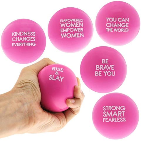 Pink Stress Balls with Motivational Sayings (6 Pack)