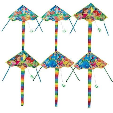 "6 Kite Flyer w/ Tail Line for Kids, Mermaid Car Dinosaur Pattern, 36"" x 19.5"""