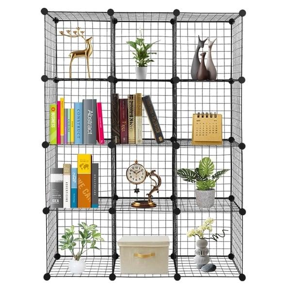12-Cube Organizer Storag Cubbies Bookcase - N/A