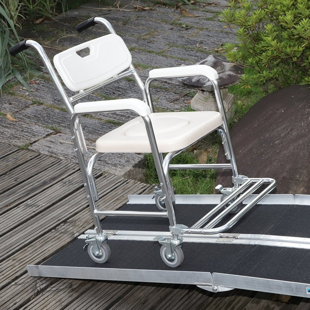6FT Four-section Non-Skid Folding Aluminum Alloy Wheelchair