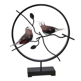 Glass Bird Accent Decor in Circular Metal Frame, Black and Brown