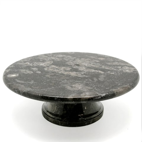 """Creative Home Charcoal Marble 10"""" Cake, Serving Plate on Pedestal"""