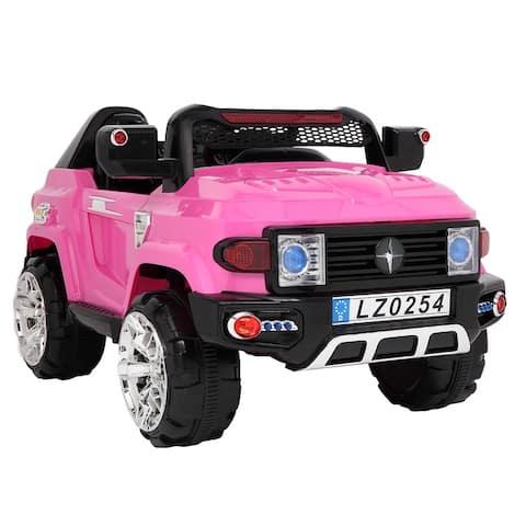 Kids 12V Electric RC Truck Ride On w/ 2 Speeds, LED Lights, MP3