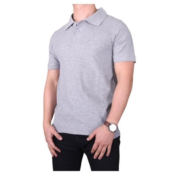 KNOCKER Mens Solid Short Sleeved Slim Fit Polo Shirt - Heather Grey