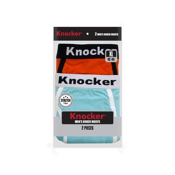 KNOCKER Mens Solid Cotton Spandex Boxer Briefs 2-PACK (COLORS VARY)