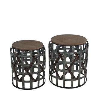 2 Piece Round Accent Stand with Cut out Geometrical Base,Gray and Brown