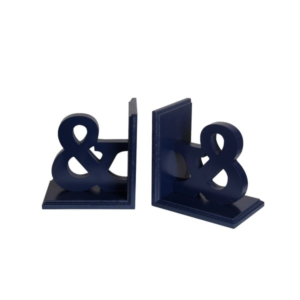 Contemporary Style Ampersand Symbols Wooden Bookends, Blue