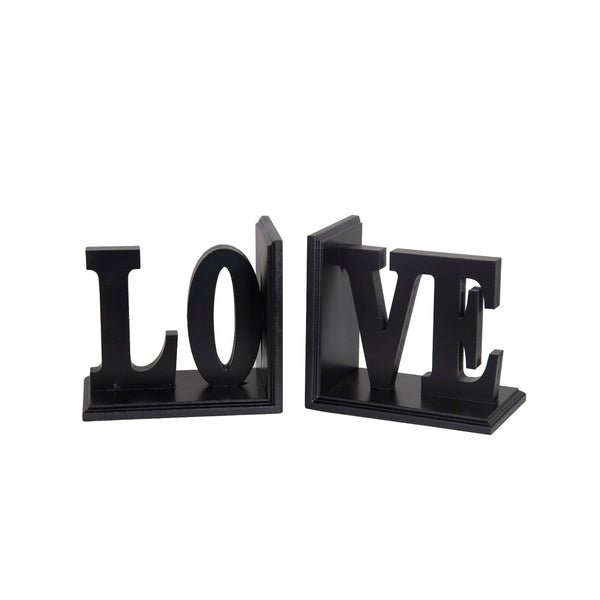 Contemporary LOVE Word Wooden Bookends With Cut Out Accents, Red