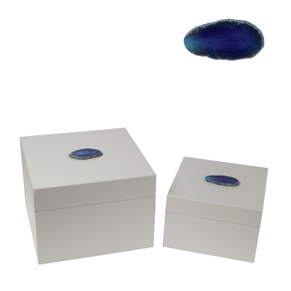 2 Piece Contemporary Style Square Metal Box with Agate, White and Blue