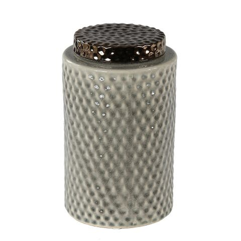 Ceramic Canister with Lidded Top and Dimple Pattern, Large, Gray
