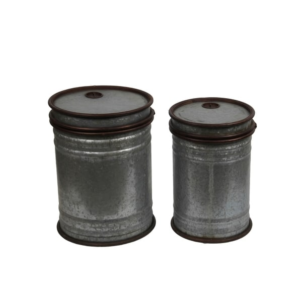 2 Piece Farmhouse Metal Tin Cans Set with Rustic Trim, Gray and Brown