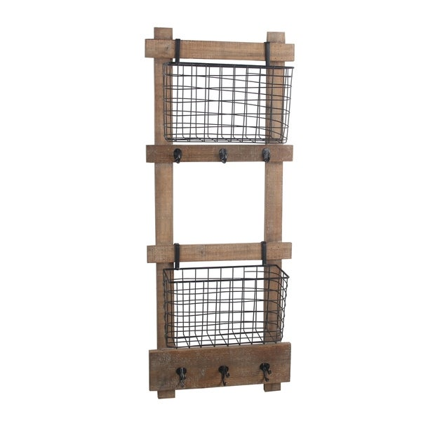 Wood and Metal Wall Organizer with Storage Bins, Brown and Black
