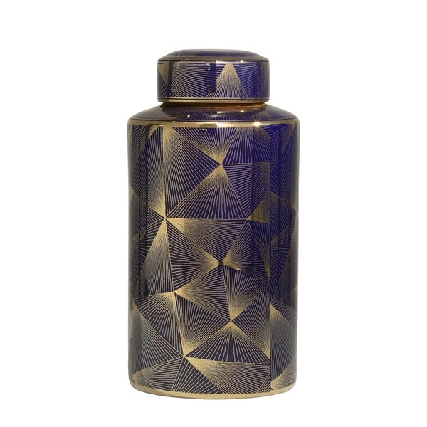 Contemporary Styled Ceramic Jar with Fine Patterns, Blue and Gold, Large
