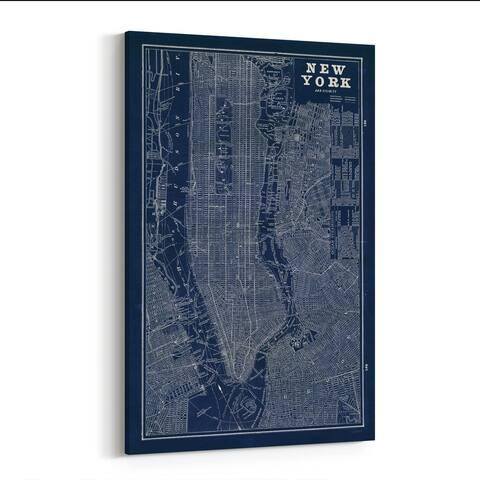 Noir Gallery NYC Maps Retro Canvas Wall Art Print