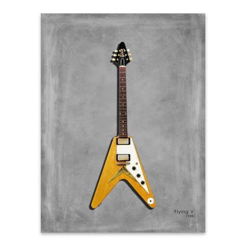 Noir Gallery Music Guitar Gibson Flying V Metal Wall Art Print