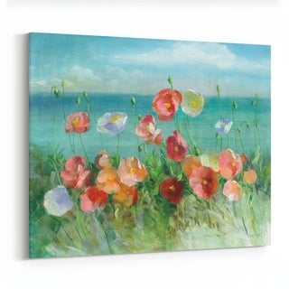 Noir Gallery Beach Floral Clouds Painting Canvas Wall Art Print