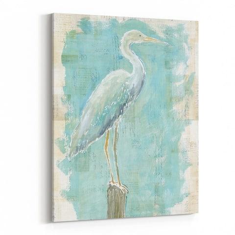 Noir Gallery Birds Beach Egret Heron Collage Canvas Wall Art Print