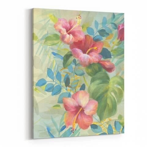 Noir Gallery Beach Floral Palm Trees Hibiscus Canvas Wall Art Print