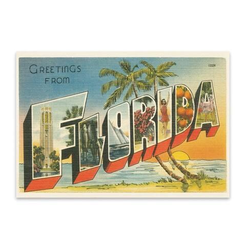Noir Gallery Florida Beach Palm Trees Retro Metal Wall Art Print
