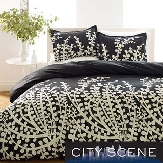 City Scene Branches Black 7-piece Bed in a Bag with Sheet Set