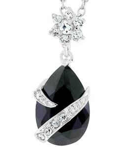 Kate Bissett Silvertone Pear-shaped Purple CZ Pendant