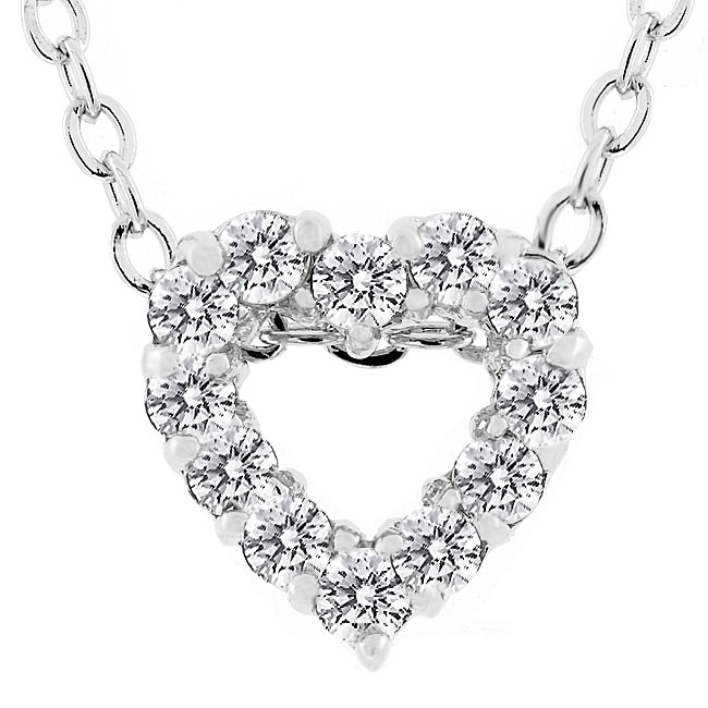 Kate Bissett Silvertone Cubic Zirconia Heart Necklace
