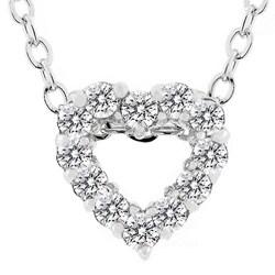 Kate Bissett Silvertone Cubic Zirconia Heart Necklace