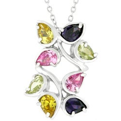 Kate Bissett Silvertone Cubic Zirconia Leaves Necklace