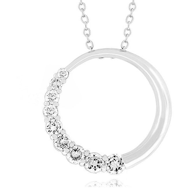 Kate Bissett Silvertone Cubic Zirconia Half Moon Necklace