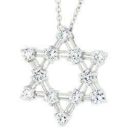 Kate Bissett Sterling Silver Star of David CZ Necklace