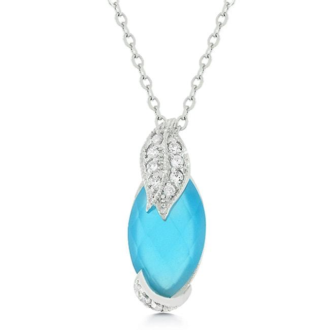 Kate Bissett Silvertone Blue Cubic Zirconia Leaf Necklace