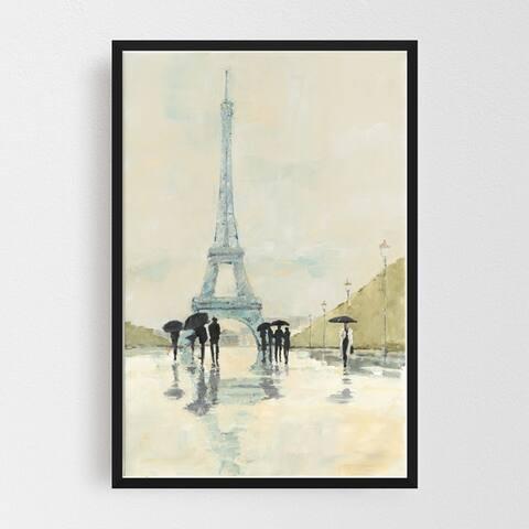 Noir Gallery Paris People Rain Umbrella Eiffel Tower Framed Art Print