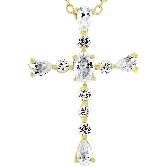 Kate Bissett Goldtone Cubic Zirconia Cross Necklace