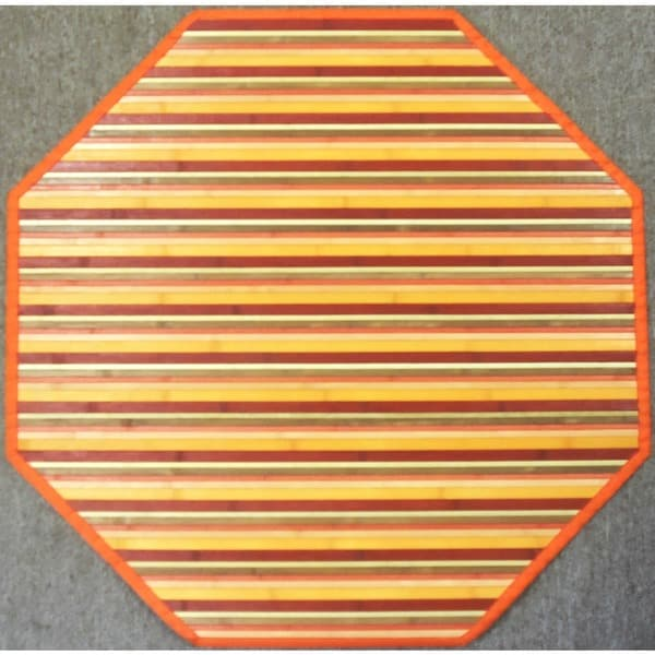 Rust Woven Rayon from Bamboo Rug (5' Octagonal)