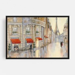 Noir Gallery Paris People Umbrella Eiffel Tower Framed Art Print