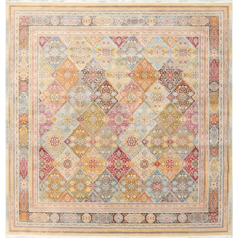 Vintage Style Oriental Garden Design Distressed Heat-Set Area Rugs
