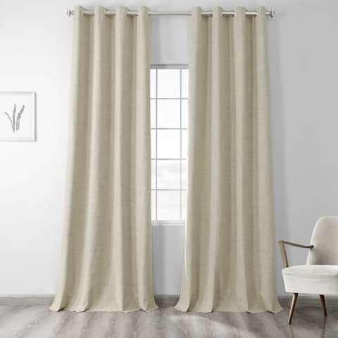 Exclusive Fabrics Vintage Thermal Cross Linen Weave Max Blackout Grommet Curtain