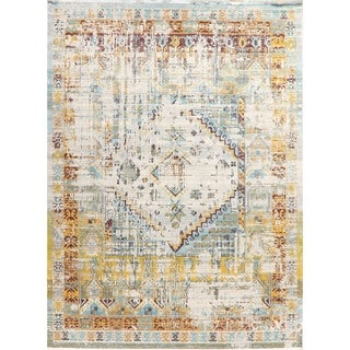 Turkish Geometric Distressed Heat-Set Vintage Style Oriental Area Rugs