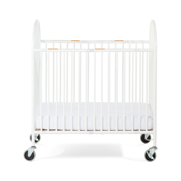 Foundations® Pinnacle™ Compact Folding Steel Crib with Oversized Casters and Foam Mattress