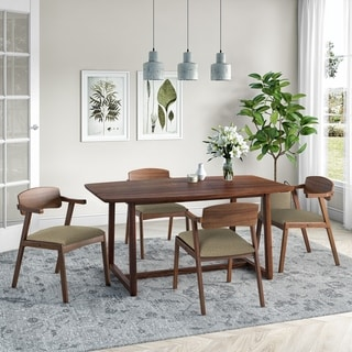 Carson Carrington Comiskey 5-piece Mid Century Modern Cherry Wood Dining Table and Arm Chairs