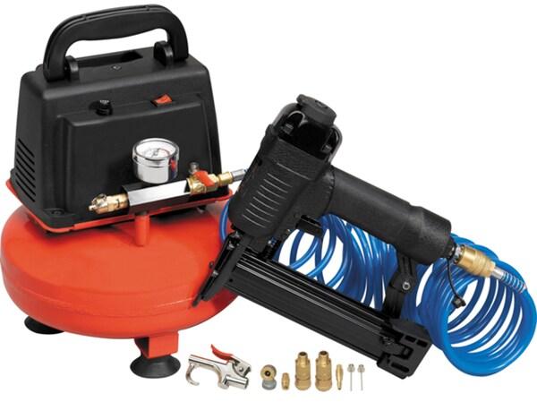 1/3HP 1-gallon Oil-less Air Compressor w/ Nail Gun