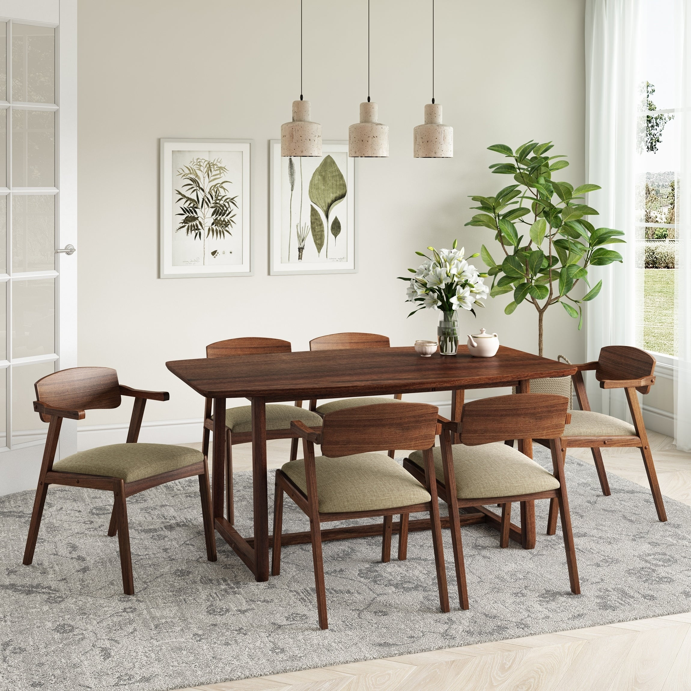 Shop Black Friday Deals On Carson Carrington Comiskey 7 Piece Mid Century Modern Cherry Wood Dining Table And Arm Chairs On Sale Overstock 30478112