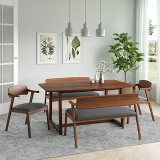 Carson Carrington Comiskey 5-piece Mid Century Modern Cherry Wood Dining Table, Benches and Arm Chairs