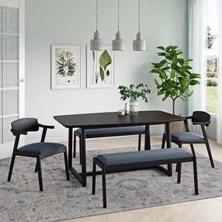 Carson Carrington Comiskey 5-piece Mid Century Modern Espresso Wood Dining Table, Benches and Arm Chairs