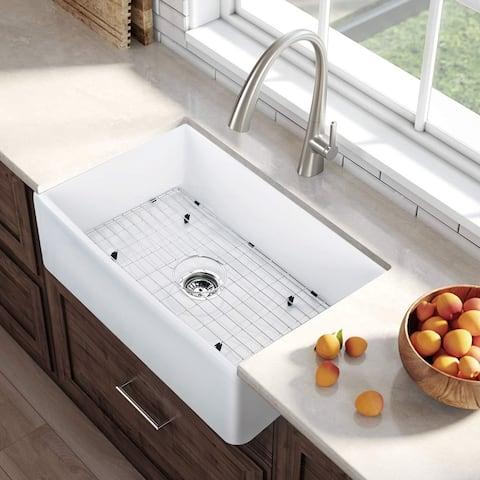 CB HOME Luxury Fireclay Modern Farmhouse Kitchen Sink Single Bowl